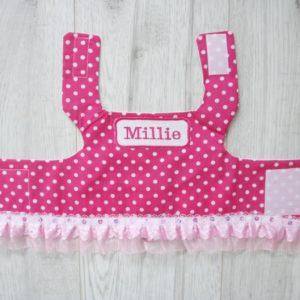 dark pink polka dot dog harness