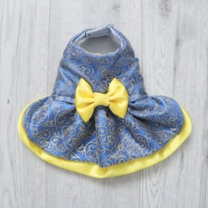 blue and yellow belle dress