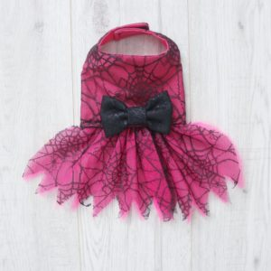 Halloween Pink and black cobweb lace dog dress