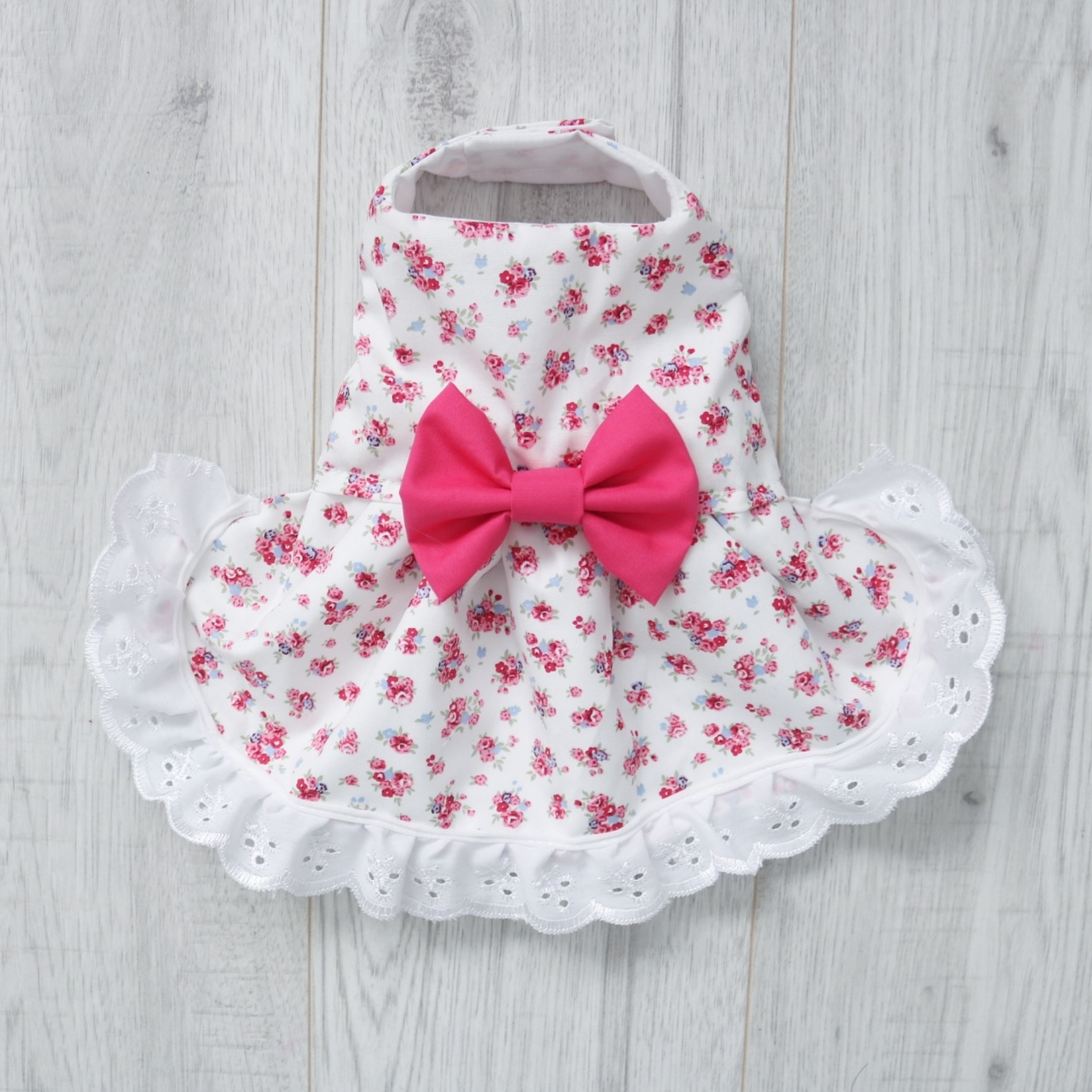 white and pink floral dog dress