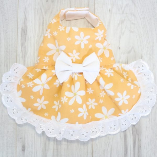 Yellow and white floral dress