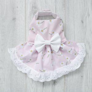 Pale pink floral dog dress