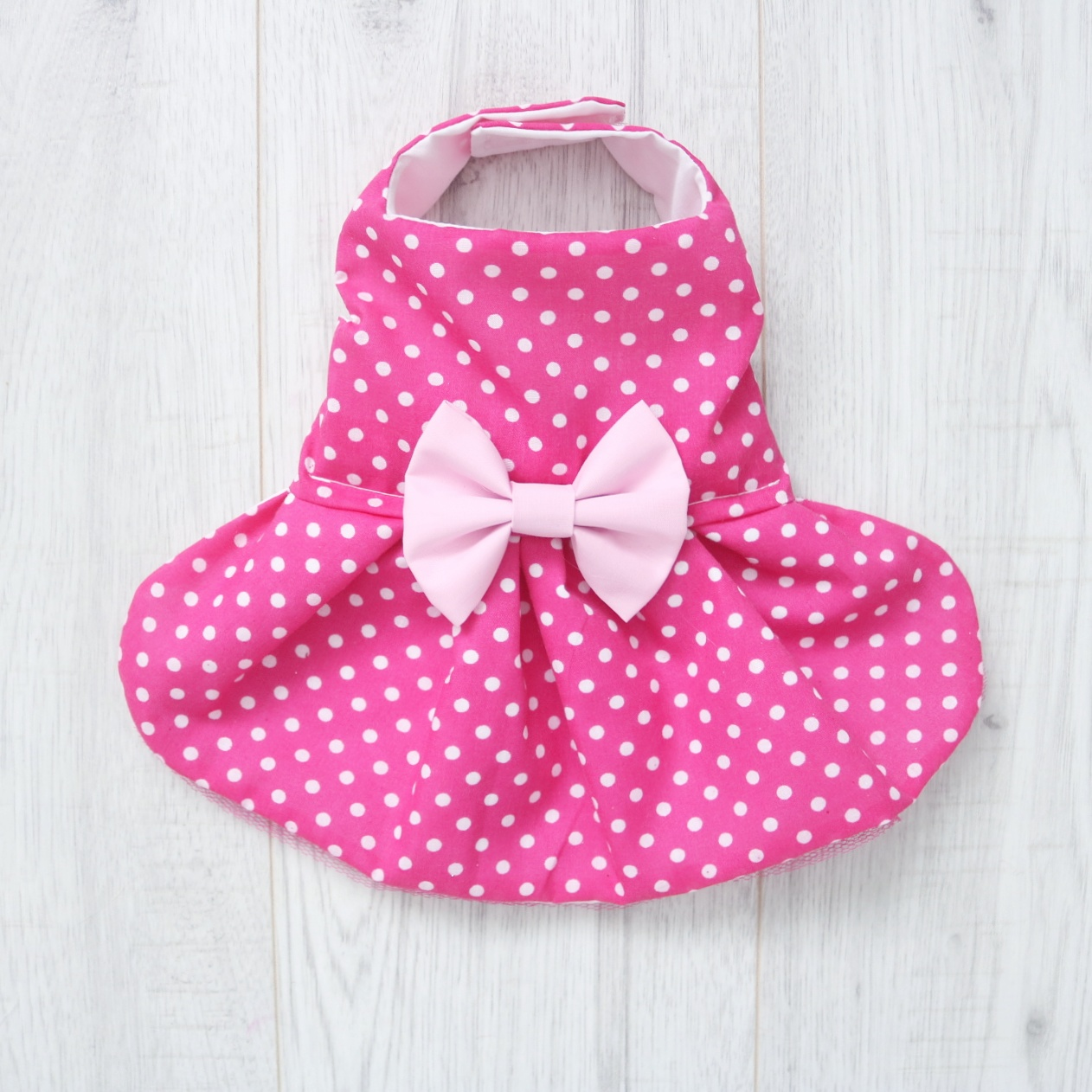 dog dress in dark pink and white polka dot