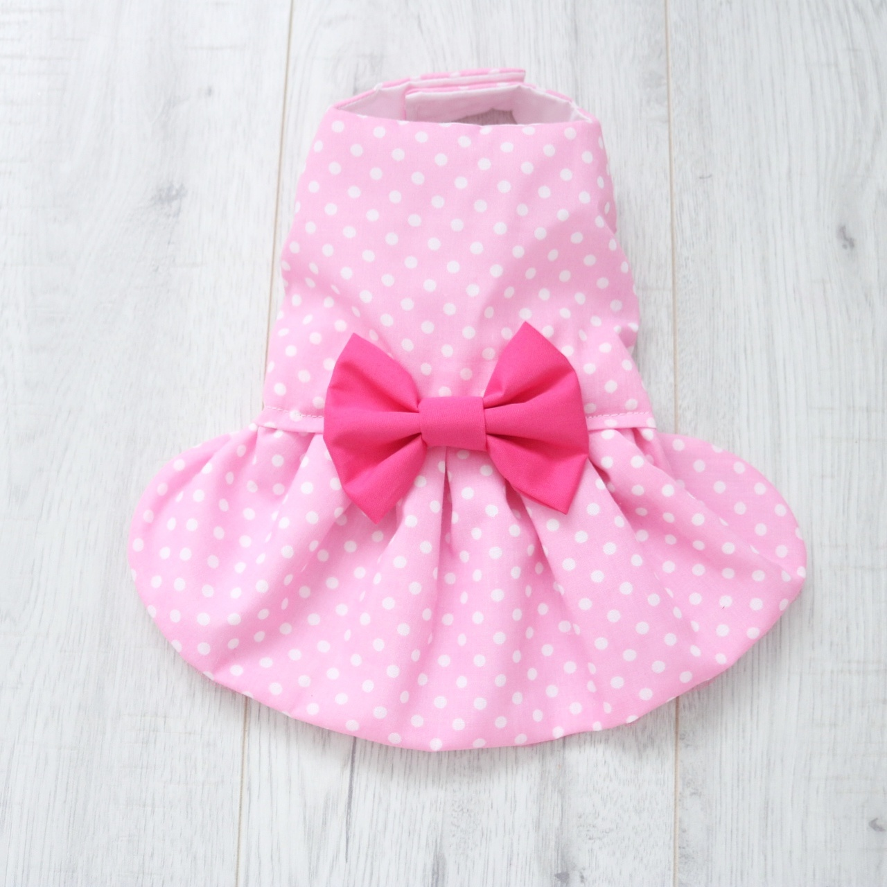 Pale pink white polka dot dog dress