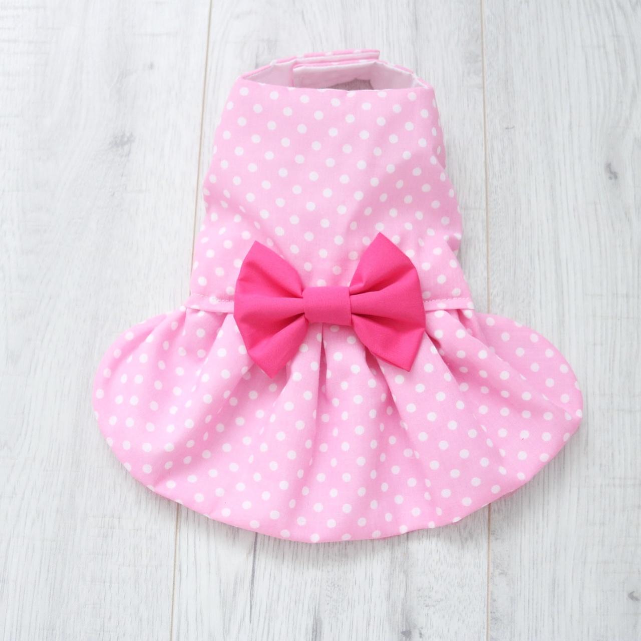 Pale pink white polka dot dog dress