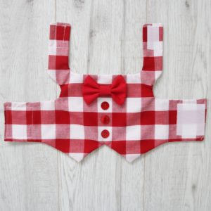 Red and white checkered dog waistcoat
