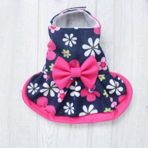 Navy Blue and Pink Floral dog Dress