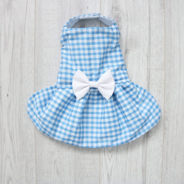 Blue and white gingham dog dress