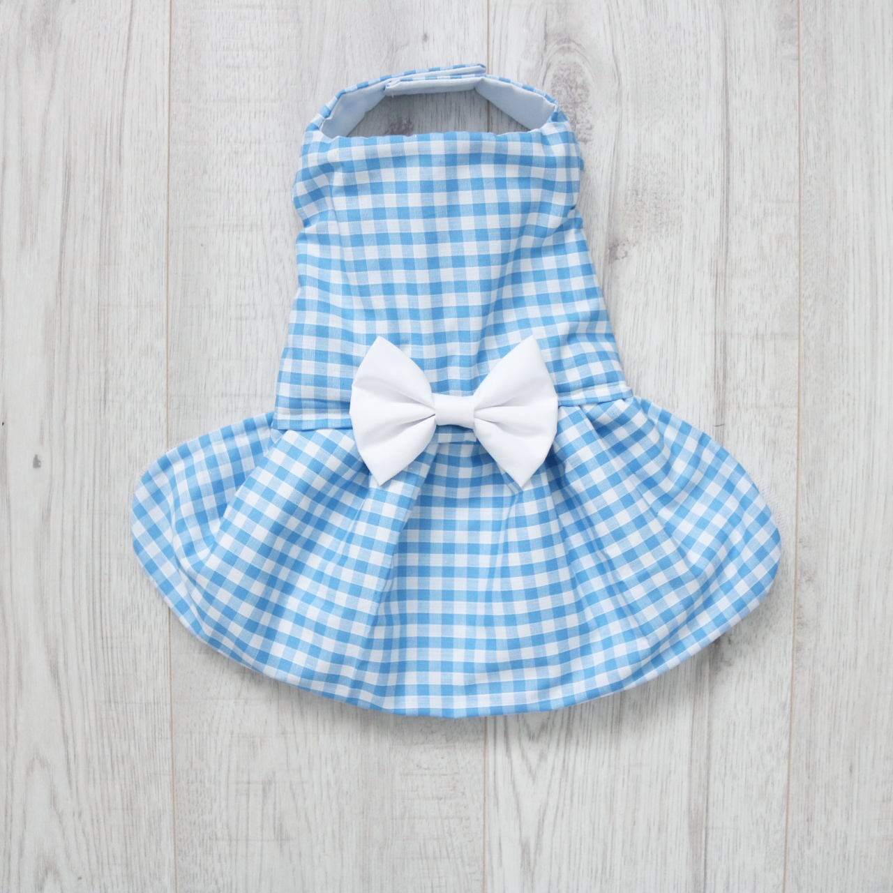 Blue and white gingham dog dress