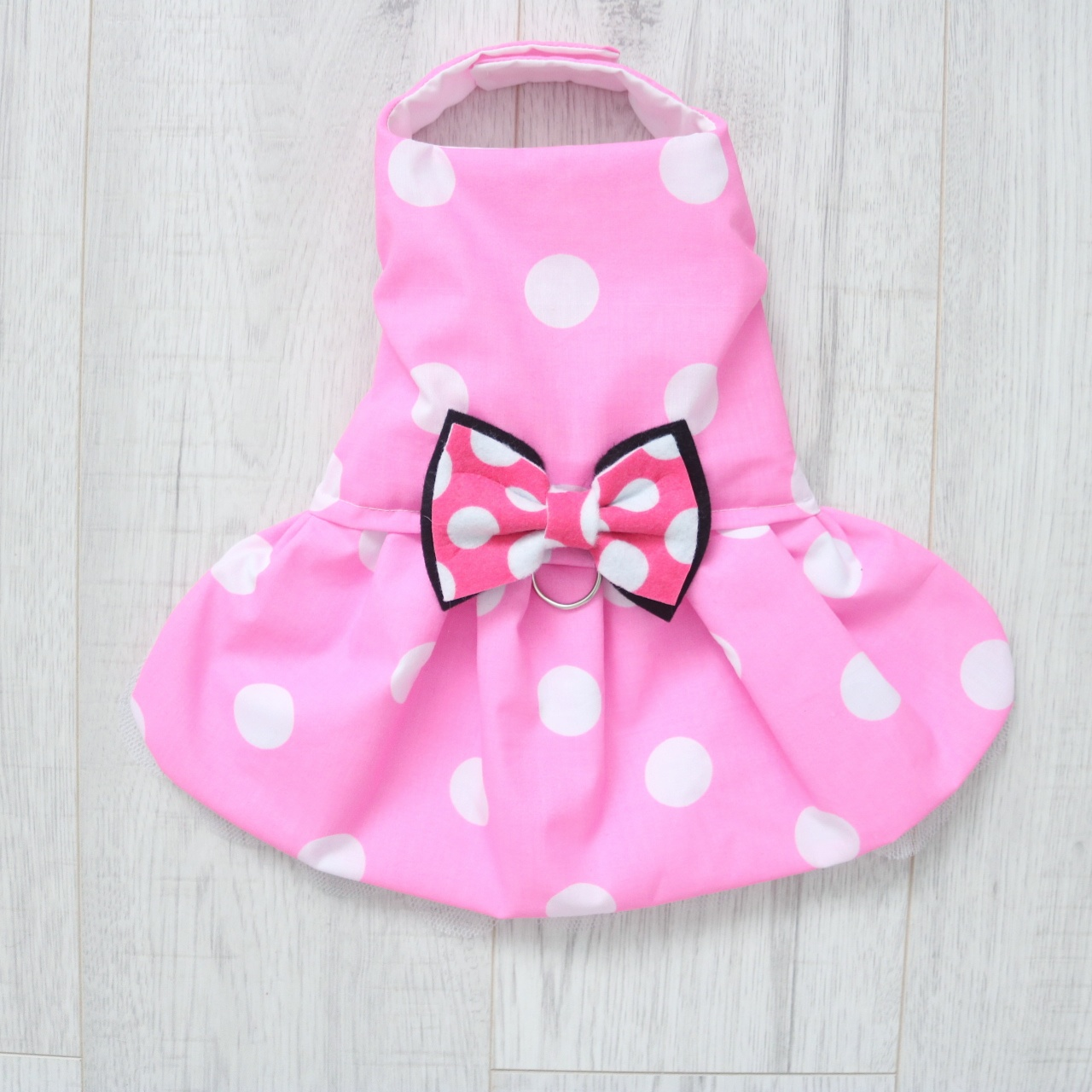 Minnie Mouse Inspired Pink and White Polka Dot Dress