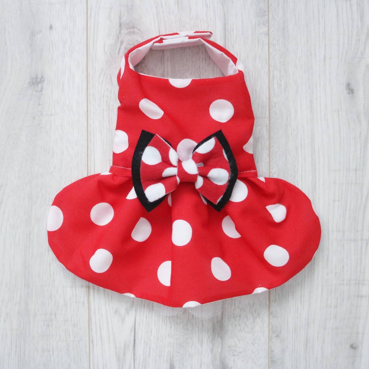 907d4037bcf Minnie Mouse Inspired Red and White Polka Dot Dog Dress - Pretty ...
