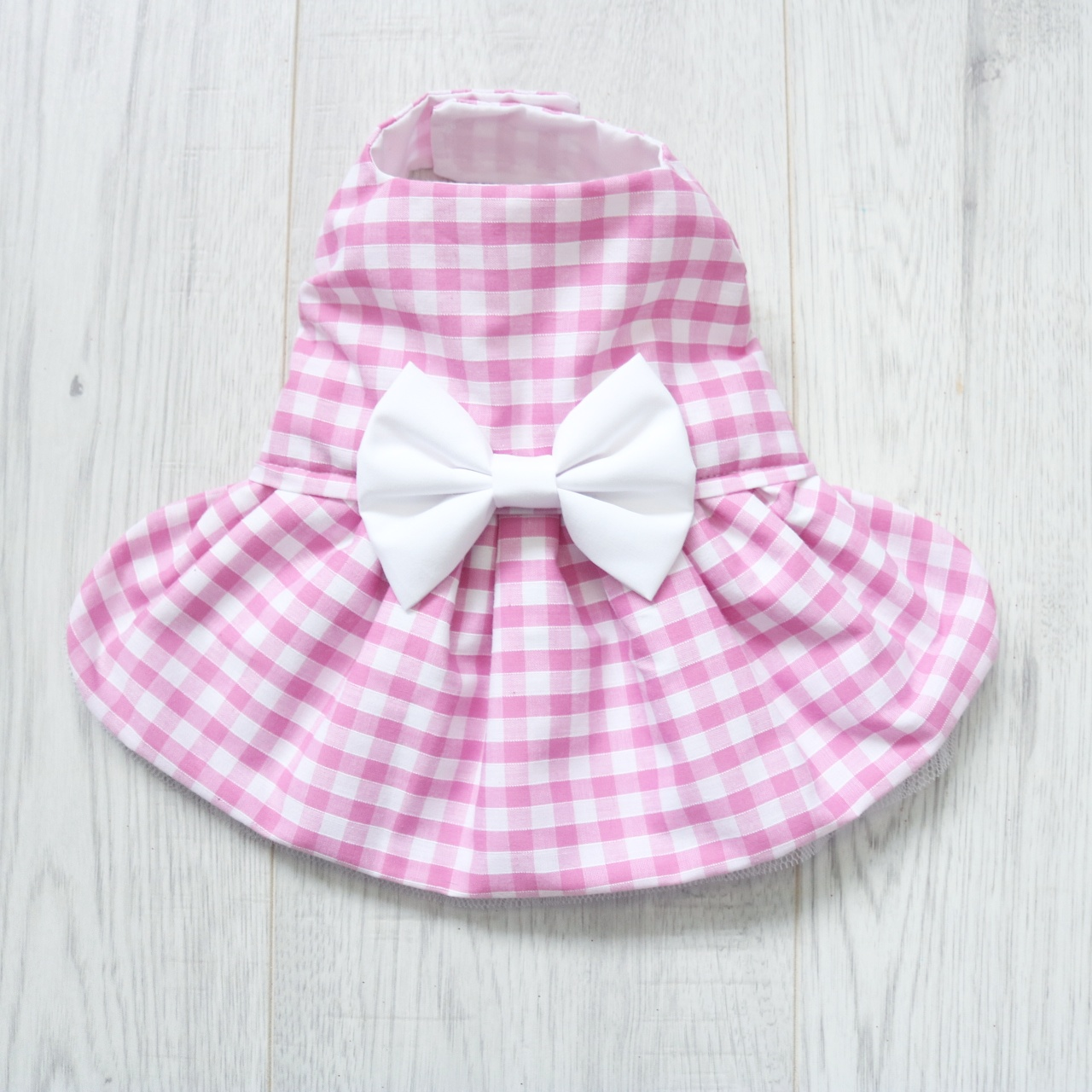 pink gingham dog dress