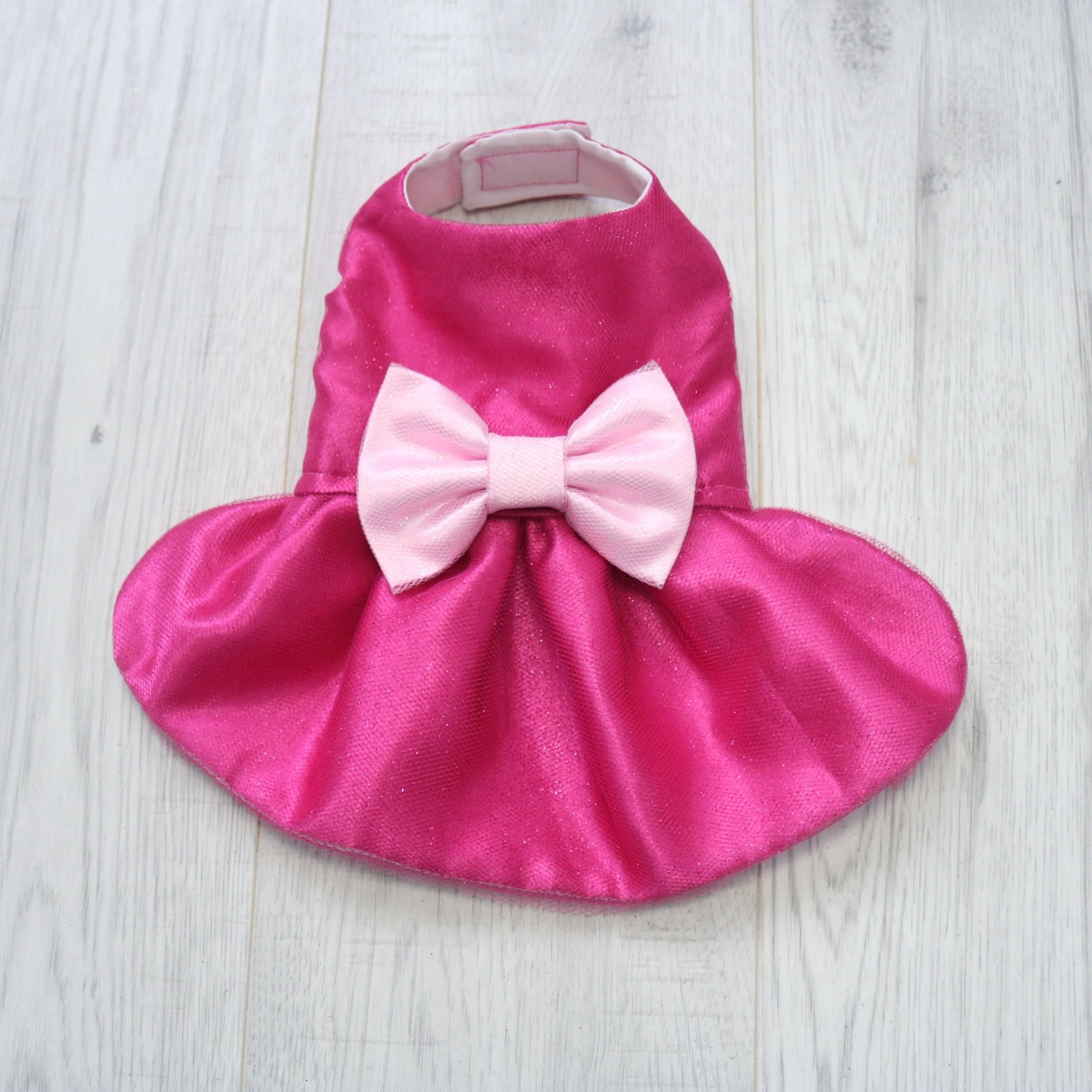 Dark Pink Sparkly dog dress with light pink bow
