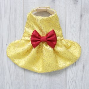 beauty and the beast yellow dress with red bow