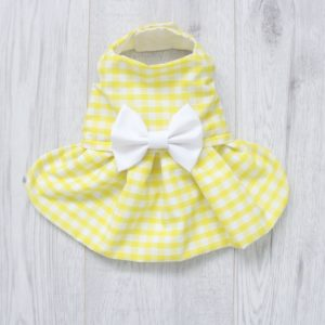 yellow gingham dog dress