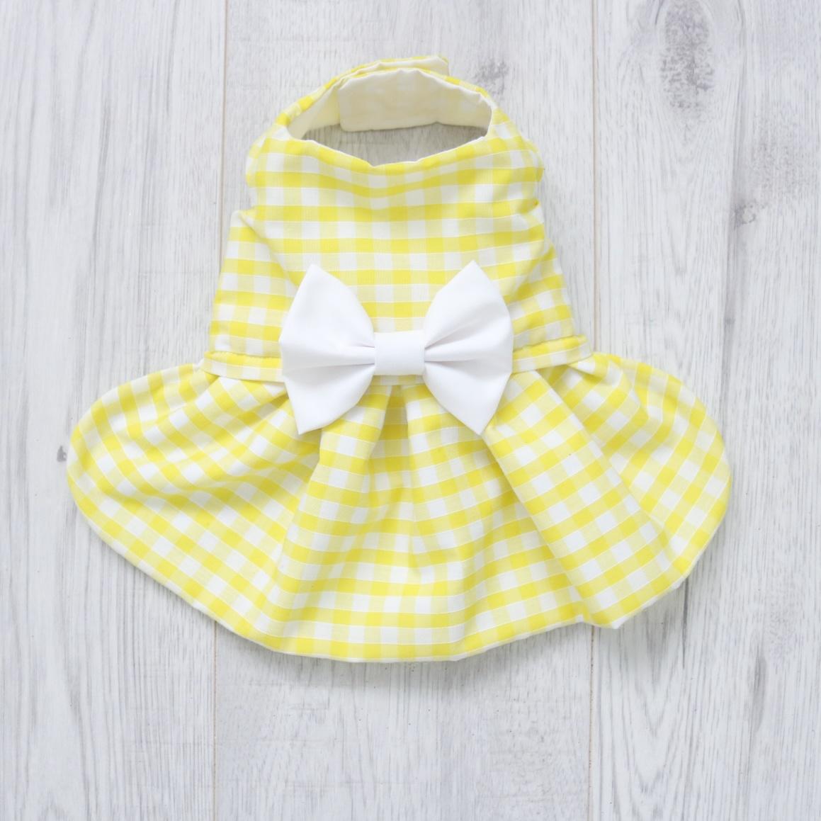yellow gingham dog dress