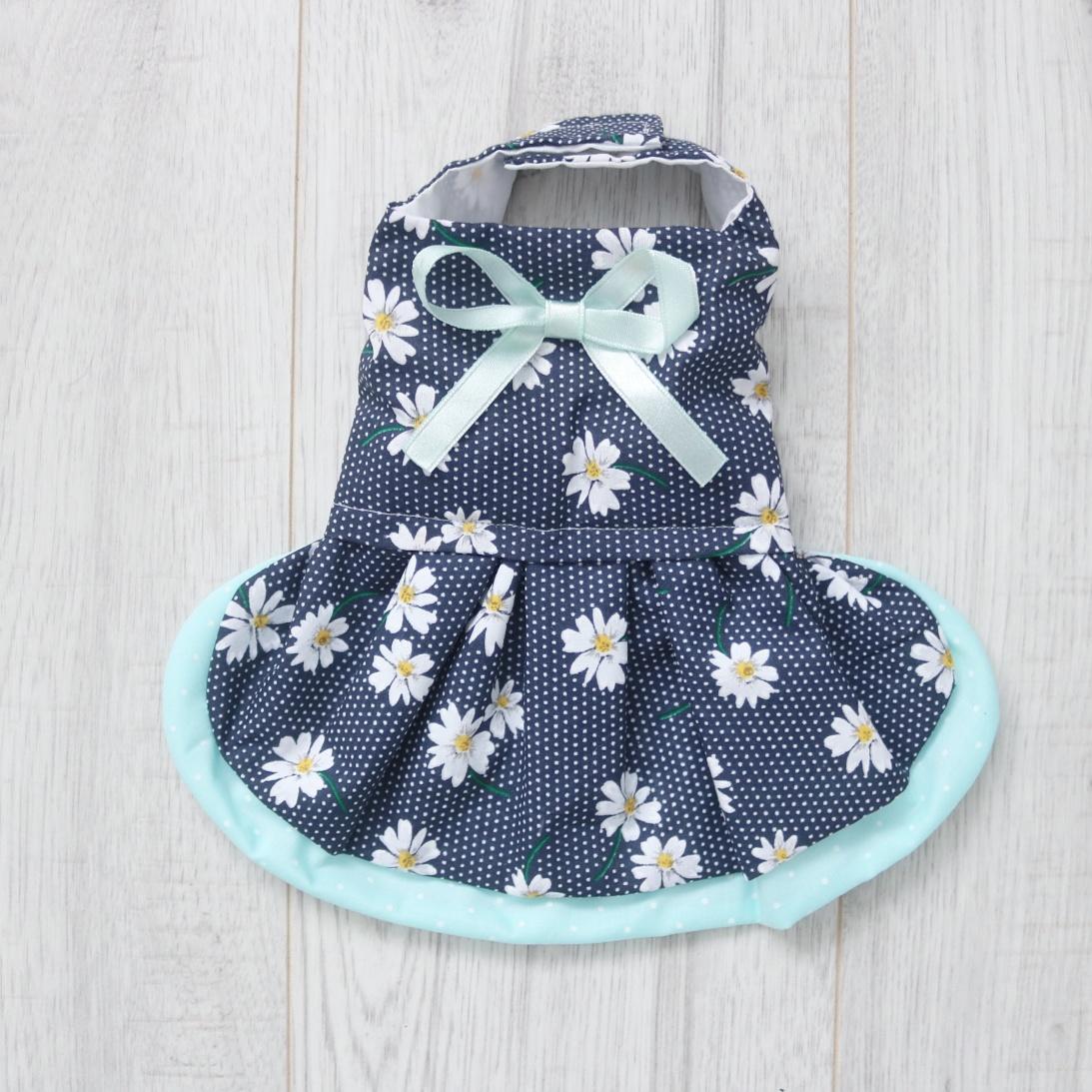 Navy blue polka dot and daisy dog dress