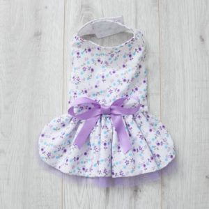white and lilac floral dog dress