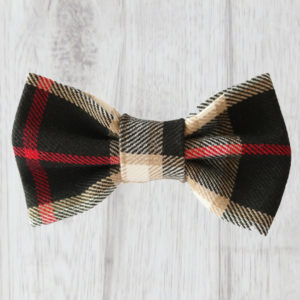 black tartan dog bow tie