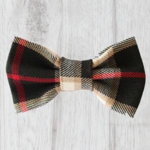 black tartan dog bow tie