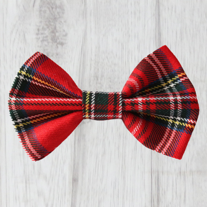 red tartan dog bow tie