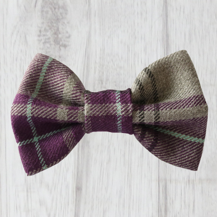 purple and grey tartan dog bow tie