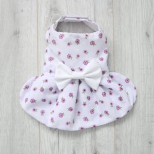 white dog dress with pink flowers