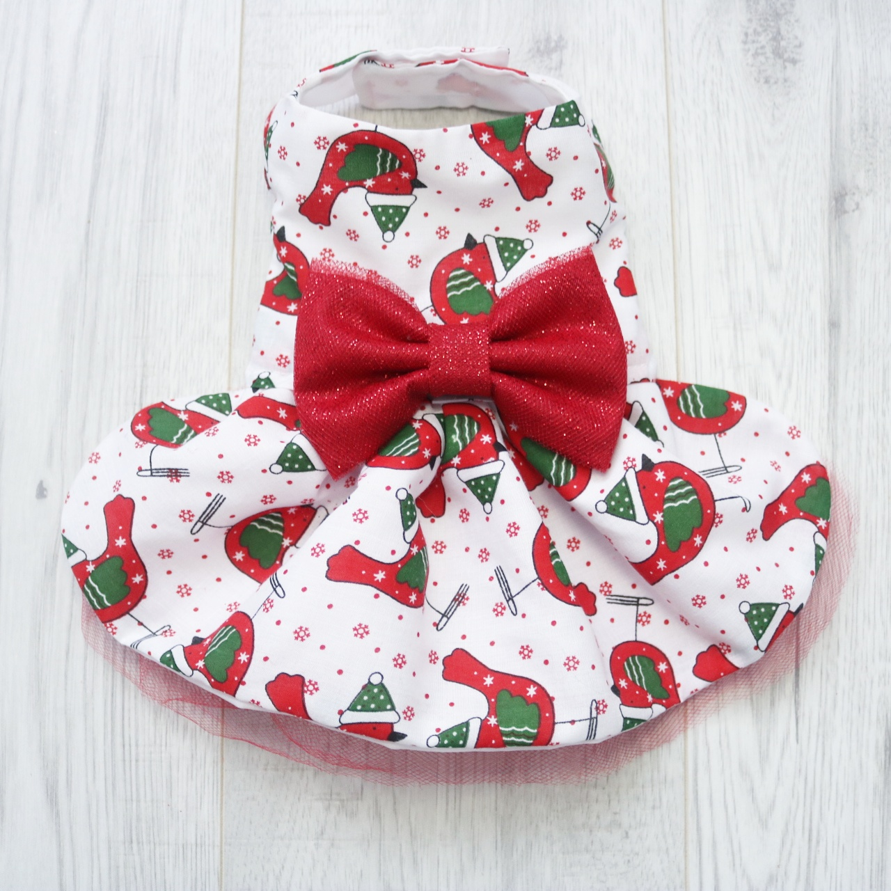 White and red print christmas dog dress
