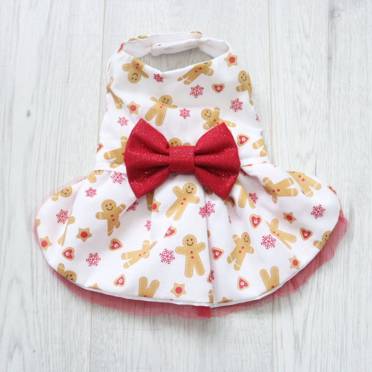 Gingerbread man print dog dress