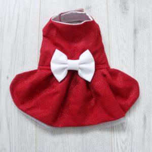red sparkly christmas dog dress