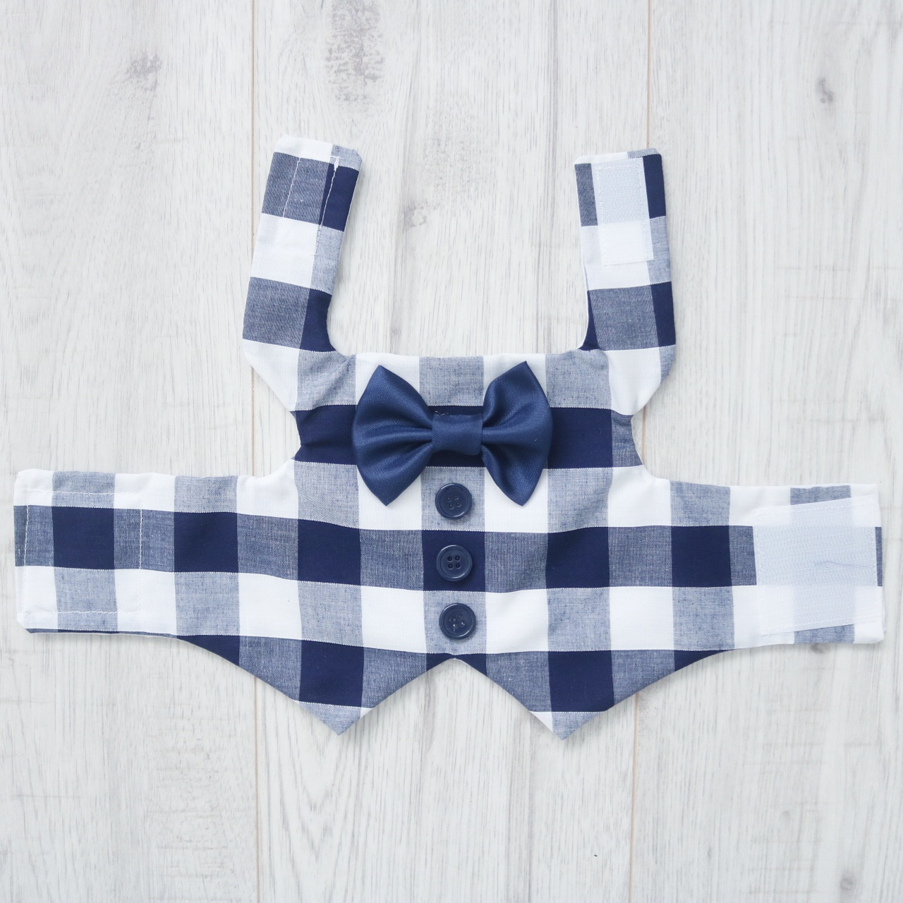 Navy and white checkered dog waistcoat