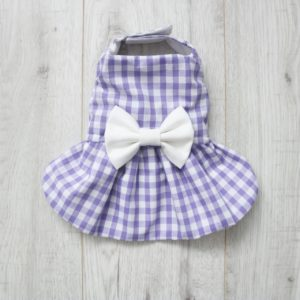 purple gingham check dress for dogs