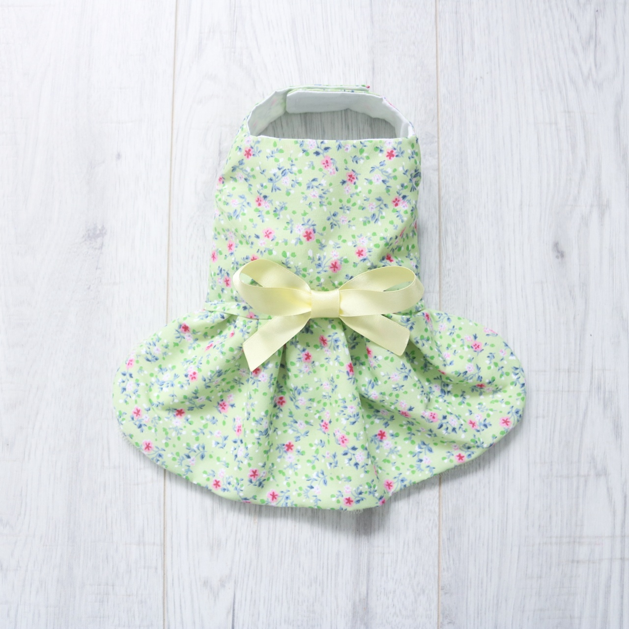 green and yellow floral dog dress