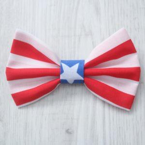 Red stripe blue star dog bow tie