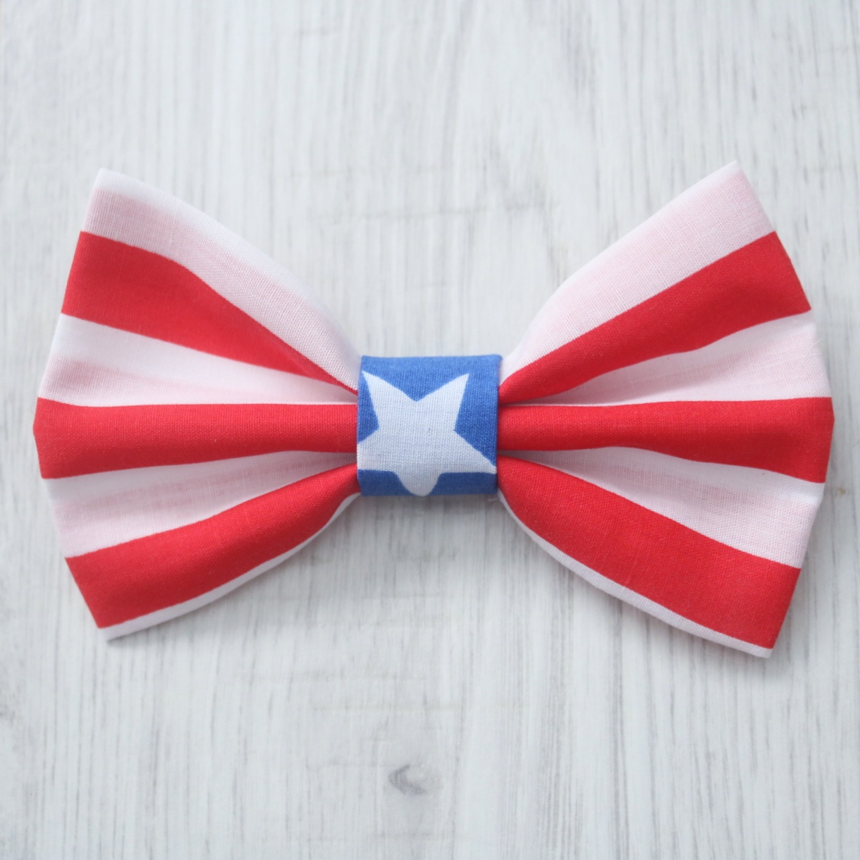 Red stripe blue star dog bow tie