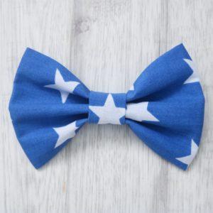 Blue stars dog bow tie