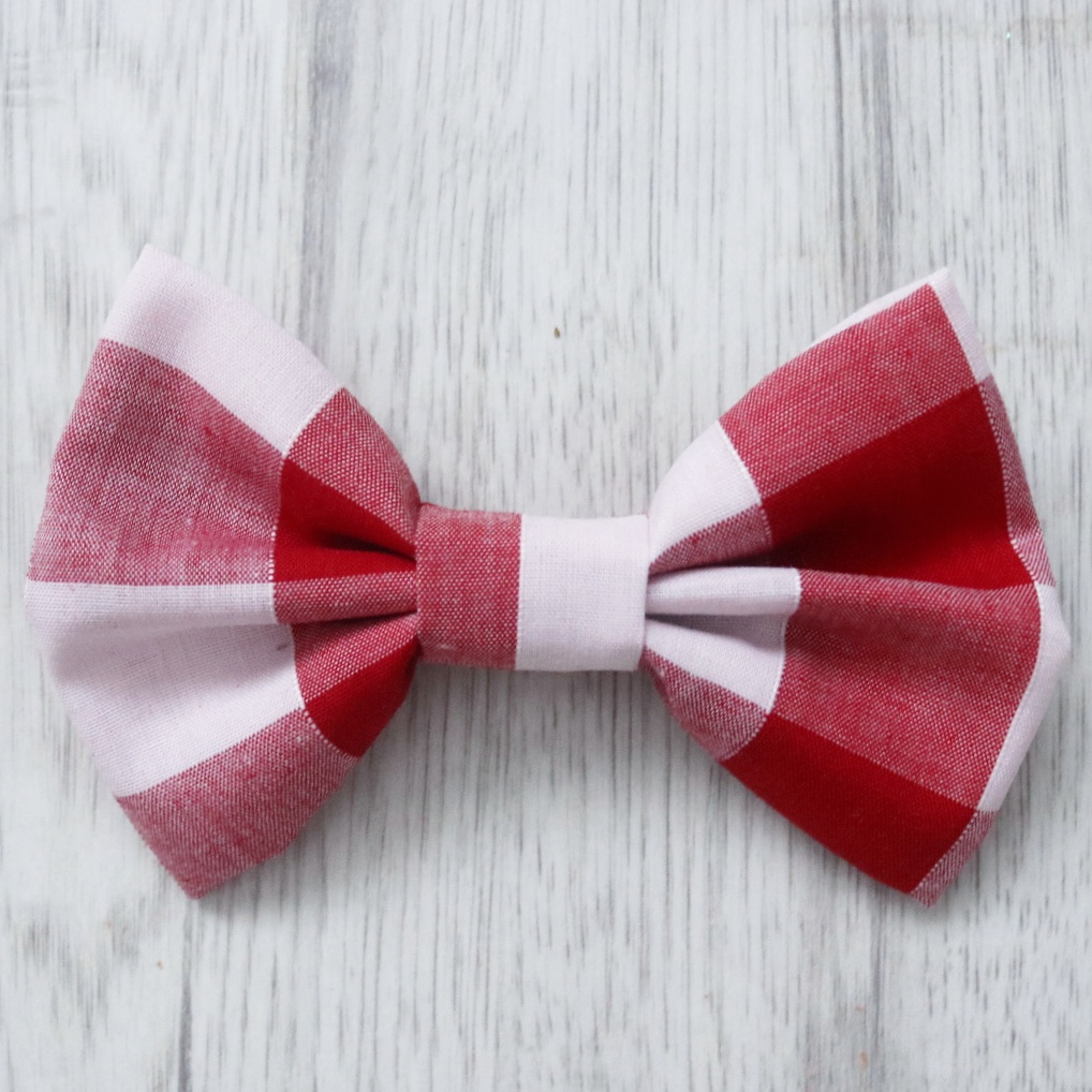 Red check dog bow tie