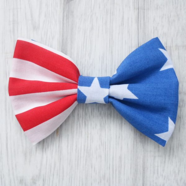 American stars and stripes dog bow tie
