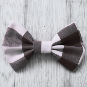 black check dog bow tie