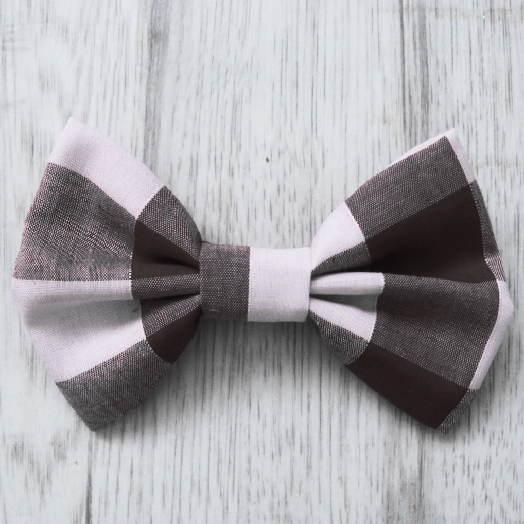 black check dog bow tie