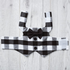 black and white checkered dog waistcoat