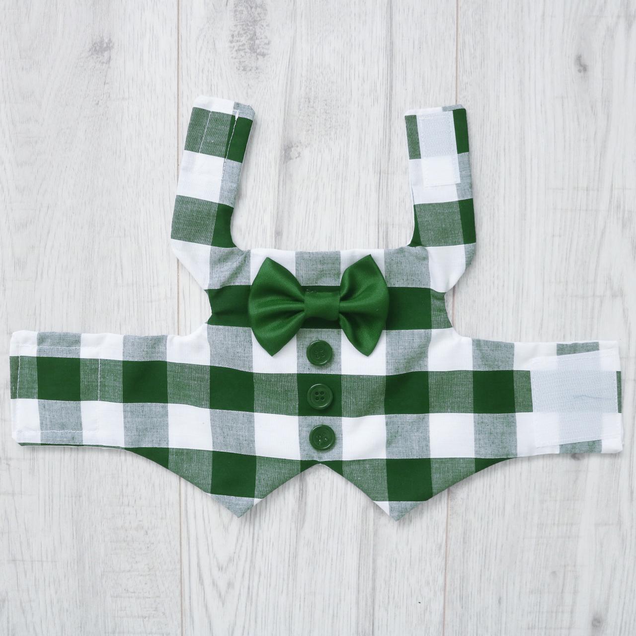 green and white checkered dog waistcoat