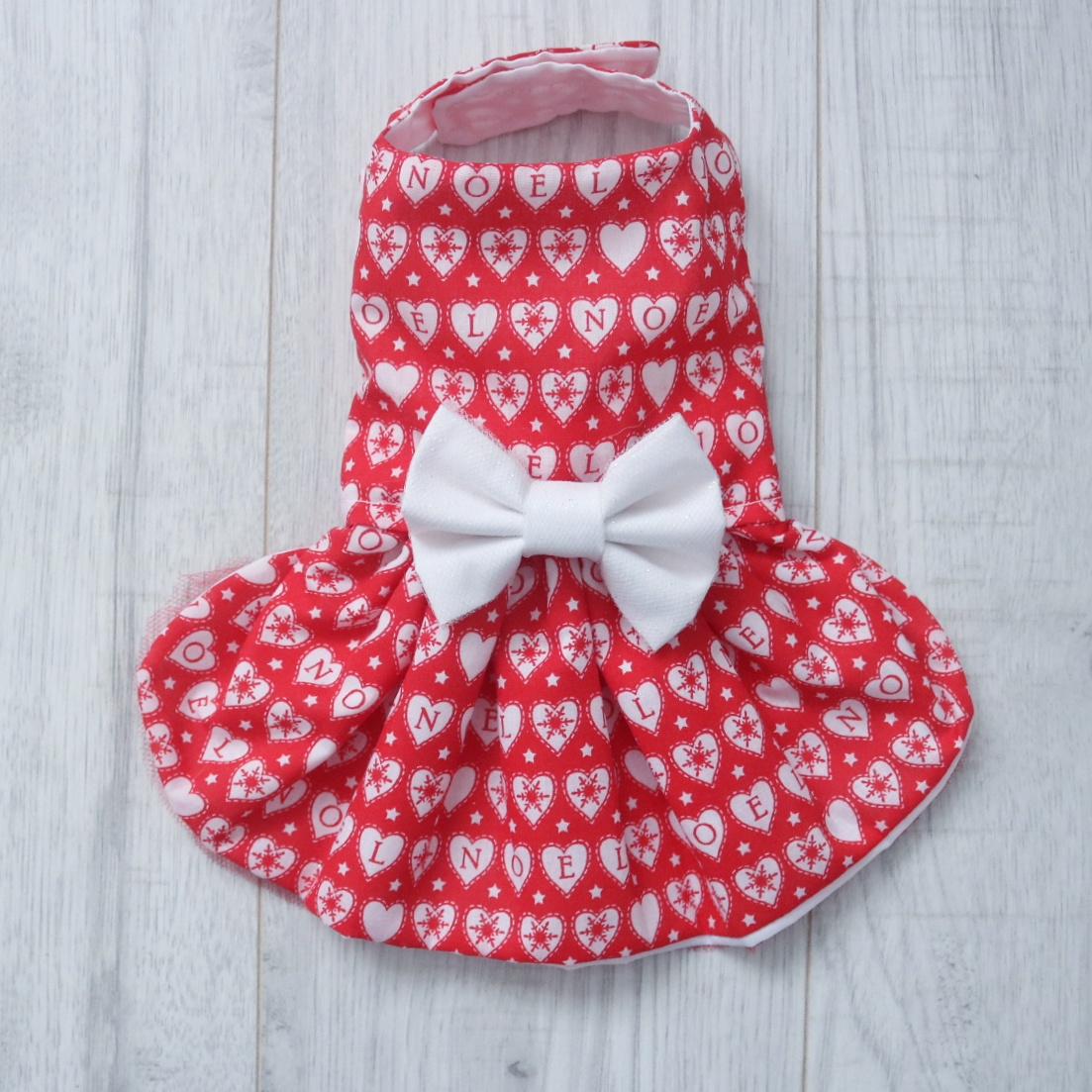28796c177165 Red Noel Christmas Dog Dress with White Sparkly Bow - Pretty Little Paws